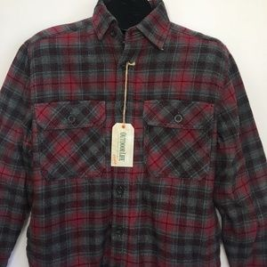 Outdoor Life Red Plaid Flannel Shirt Faux Sherpa